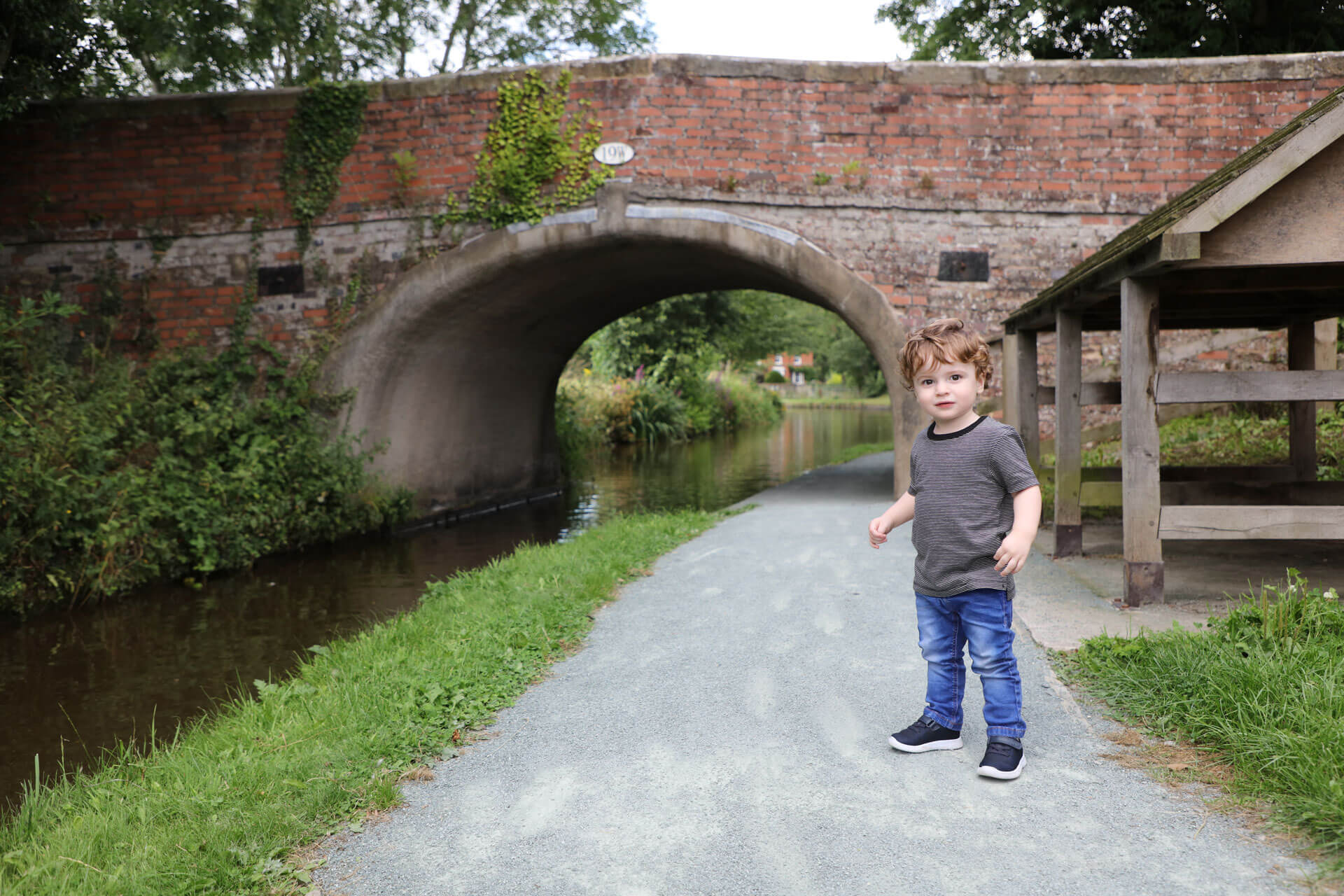 Location photo of a toddler by canal bridge North Wales
